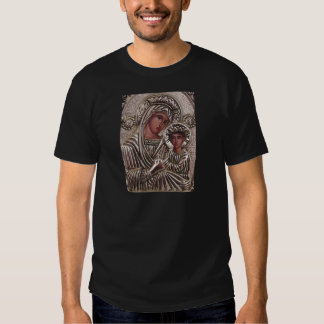 Mother and Child Icon, Madonna and Jesus in silver T-shirts