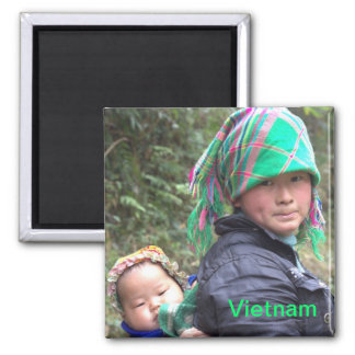 Mother and Child in Sapa Vietnam 2 Inch Square Magnet