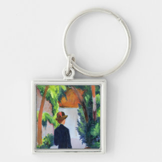 Mother and Child in the Park, 1914 Silver-Colored Square Keychain