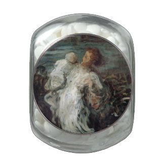 Mother and Child in White Glass Candy Jars