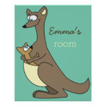 Mother and Child Kangaroo Custom Name Kids Room Poster