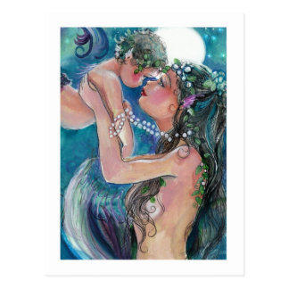 Mother and Child Mermaids Postcard