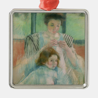 Mother and child metal ornament