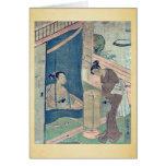 Mother and child near mosquito by Suzuki,Harunobu Greeting Cards