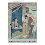 Mother and child near mosquito by Suzuki,Harunobu Greeting Card
