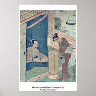Mother and child near mosquito by Suzuki,Harunobu Poster