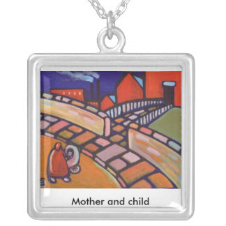 MOTHER AND CHILD,Necklace Square Pendant Necklace