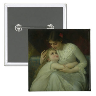 Mother and Child (oil on canvas) Pinback Button