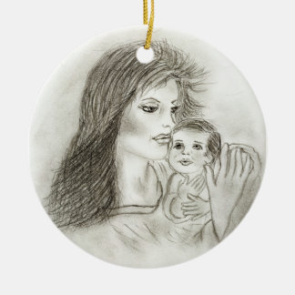 Mother and child Double-Sided ceramic round christmas ornament