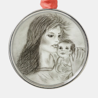 Mother and child round metal christmas ornament