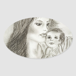 Mother and Child Oval Sticker