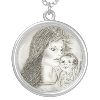 Mother and Child Round Pendant Necklace