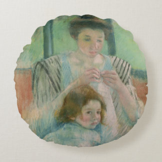 Mother and child round pillow