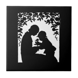 Mother and Child Silhouette Ceramic Tiles