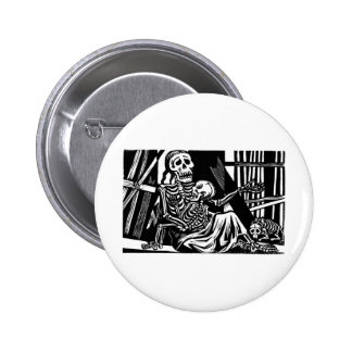 """Mother and Child Skeletons"" by Leopoldo Mendez Pinback Button"