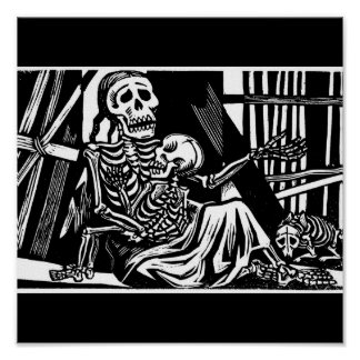 Mother and Child Skeletons by Leopoldo Mendez Print