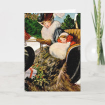 Mother and child sleighing holiday card