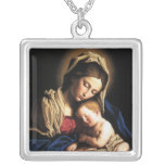 Mother and child square pendant necklace