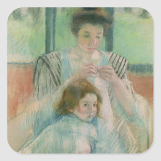 Mother and child square sticker