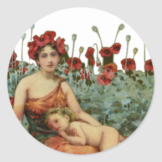 Mother and child classic round sticker