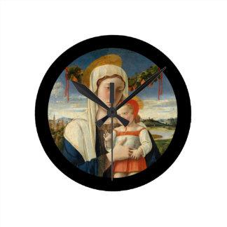 Mother and Child Under Garland Round Clock