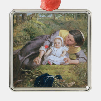 Mother and Child with a poppy Metal Ornament