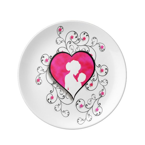 Mother and Child with Floral Scrolls Porcelain Plate