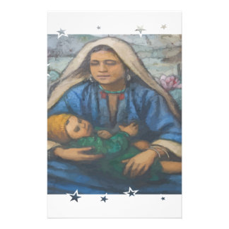 Mother and Child with Star Border Stationery Design