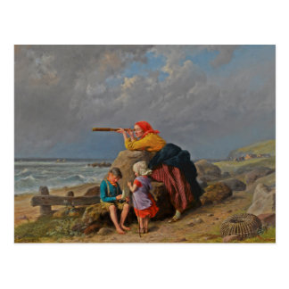 Mother and Children Looking Out to Sea Postcard