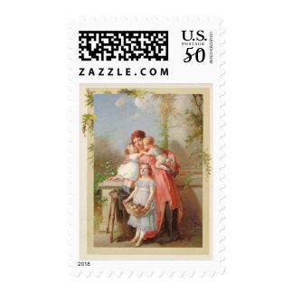 Mother and Children Vintage Reproduction Postage