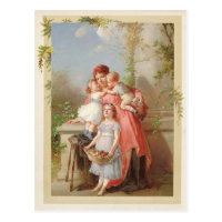 Mother and Children Vintage Reproduction Postcard