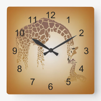 Mother and Cute Baby Giraffe | tan Square Wall Clock