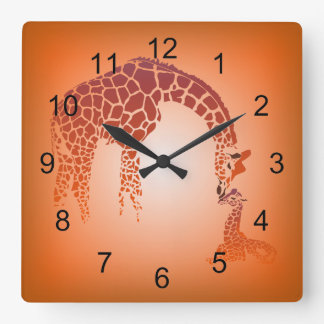 Mother and Cute Baby Giraffe | tangerine Square Wall Clock