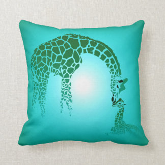 Mother and Cute Baby Giraffe | teal Pillows