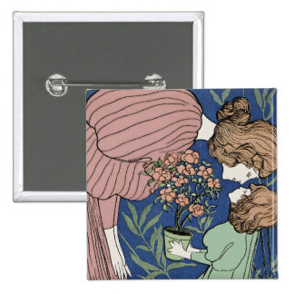Mother and Daughter - Art Nouveau Pinback Buttons