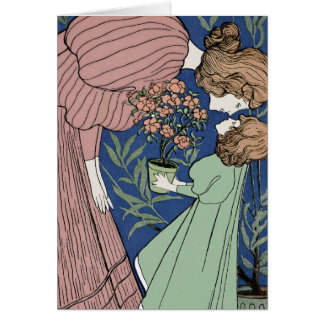 Mother and Daughter - Art Nouveau Card