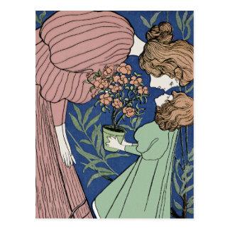 Mother and Daughter - Art Nouveau Postcard