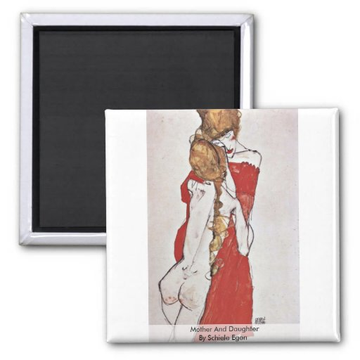 Mother And Daughter By Schiele Egon 2 Inch Square Magnet