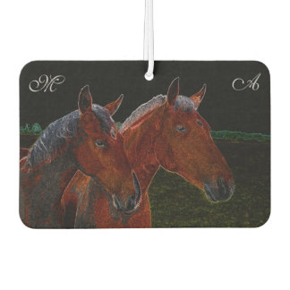 Mother And Daughter Chestnut Horses Drawing Car Air Freshener