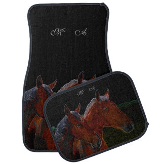 Mother And Daughter Chestnut Horses Drawing Car Floor Mat