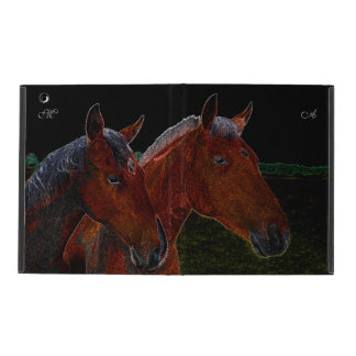 Mother And Daughter Chestnut Horses Drawing iPad Case