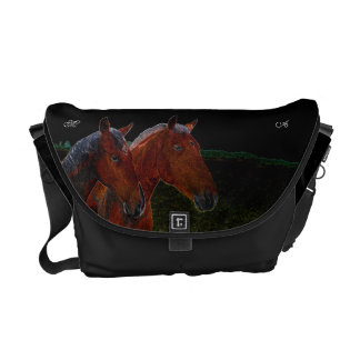 Mother And Daughter Chestnut Horses Drawing Messenger Bag
