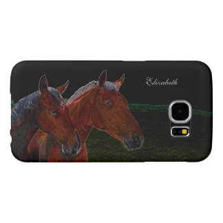 Mother And Daughter Chestnut Horses Drawing Samsung Galaxy S6 Case