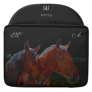 Mother And Daughter Chestnut Horses Drawing Sleeve For MacBooks