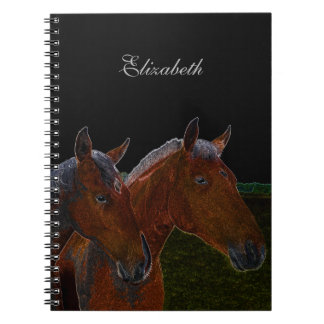 Mother And Daughter Chestnut Horses Drawing Spiral Notebook