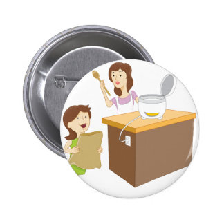 Mother and Daughter Cooking Pinback Button