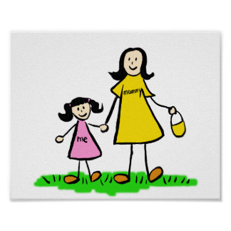Mother and Daughter Custom Family Character Poster