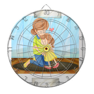 Mother and daughter dartboard with darts