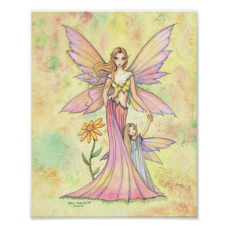 Mother and Daughter Fairy Watercolor Art Painting