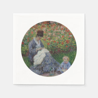 Mother and Daughter in Garden Paper Napkin